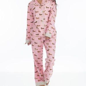 Munki Munki Pink Dachshund Flannel Pajama Set XL